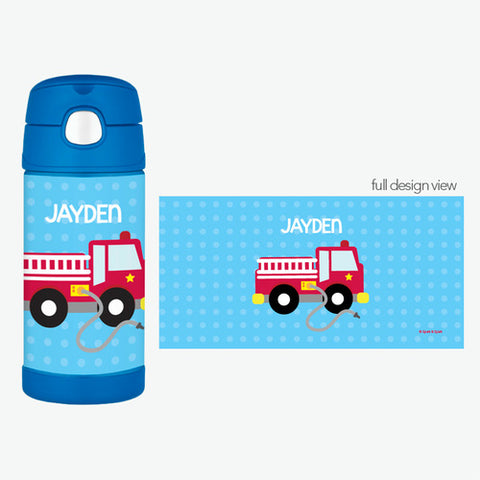 Cool Fire Truck Personalized Thermos Bottle