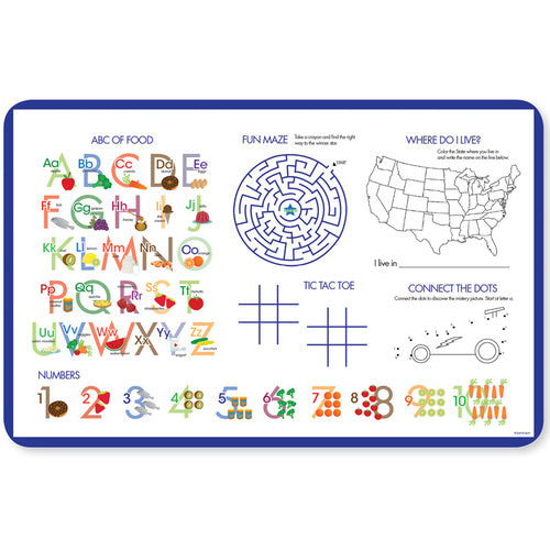 Blue Circles and Circles Personalized Kids Placemat - Give Wink