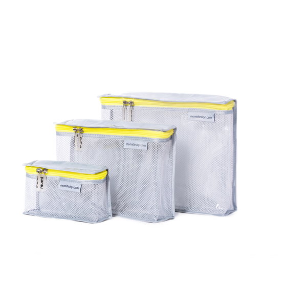Toiletry Cubes S/3 - Yellow. Mumi. Give Winki Miami Baby Store