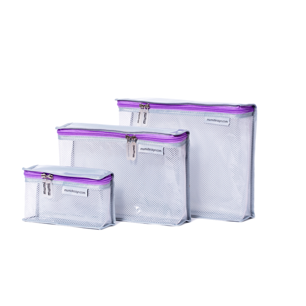Toiletry Cubes S/3 - Purple. Mumi. Give Winki Miami Baby Store