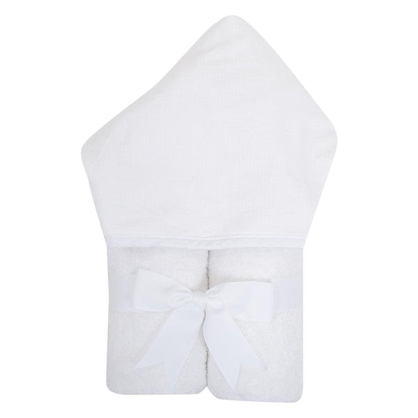 White Seersucker Stripe Hooded Towel - Give Wink
