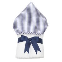 Navy Check Hooded Towel - Give Wink