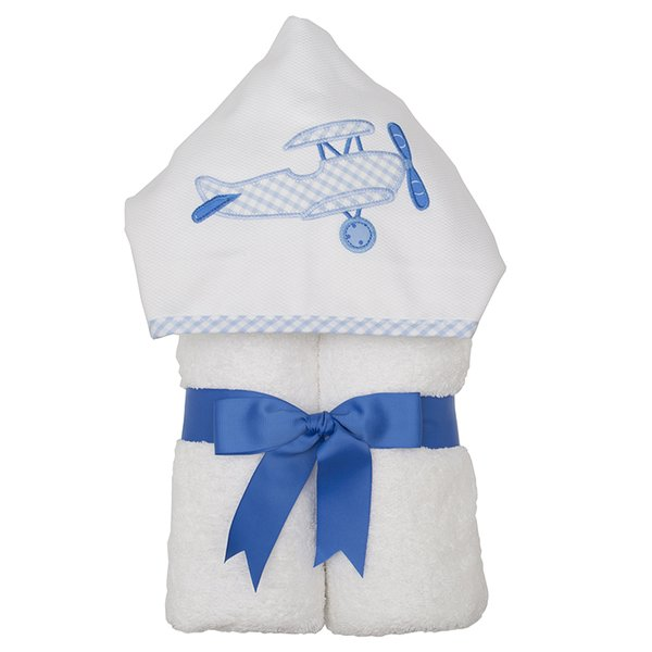 Blue Plane Hooded Towel - Give Wink