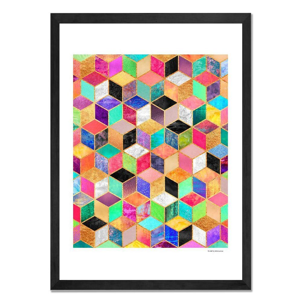 Framed Art - Colorful Cubes - Give Wink