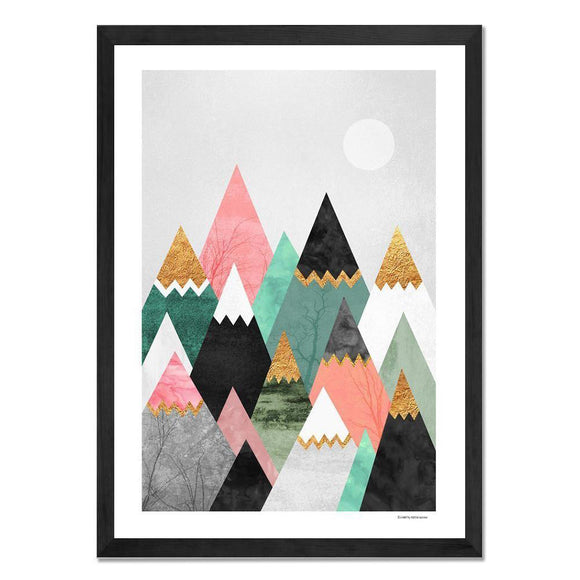 Framed Art - Pretty Mountains - Give Wink