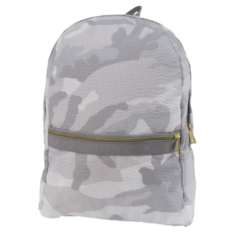 White Camo Seersucker Large Backpack - Give Wink