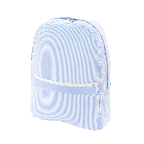 Baby Blue Seersucker Large Backpack - Give Wink