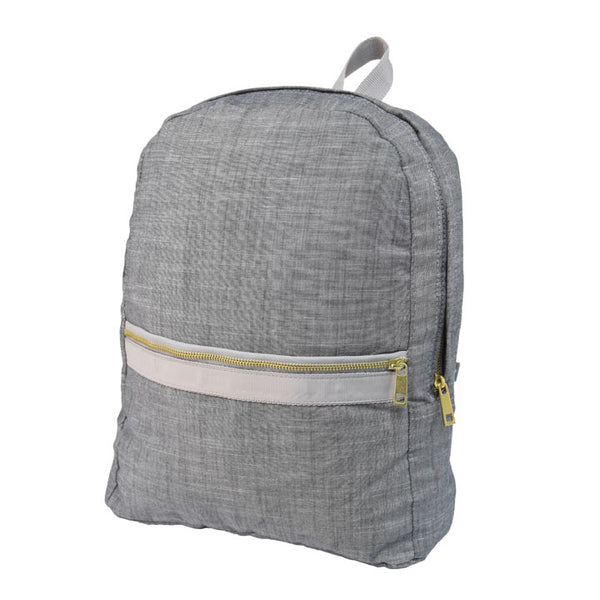 Grey Chambray Large Backpack - Give Wink