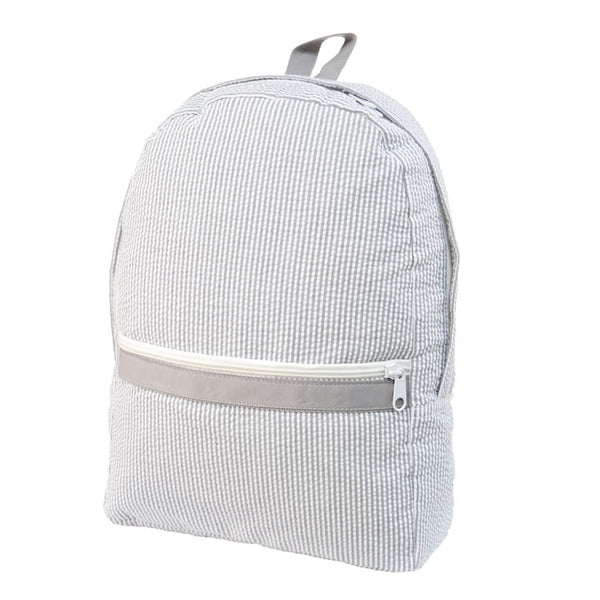 Grey Seersucker Small Backpack - Give Wink