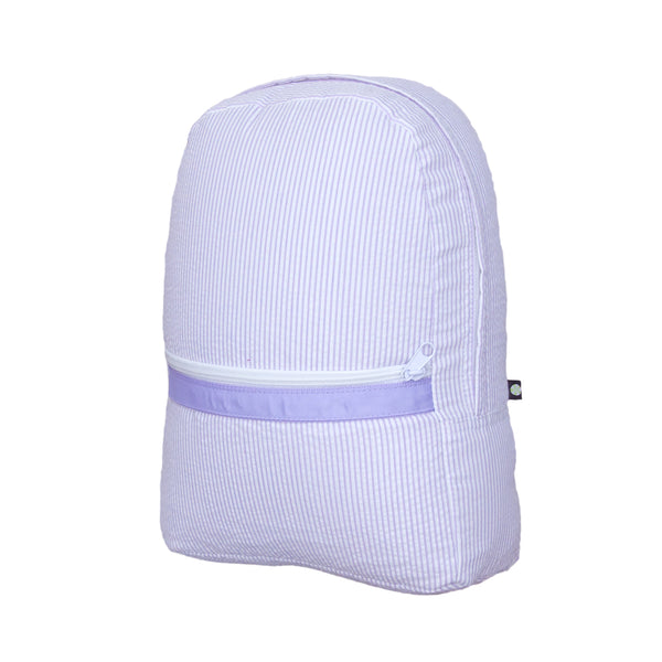 Lilac Seersucker Large Backpack - Give Wink