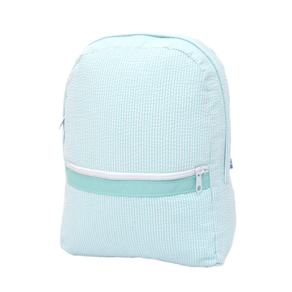 Mint Seersucker Med. Backpack - Give Wink