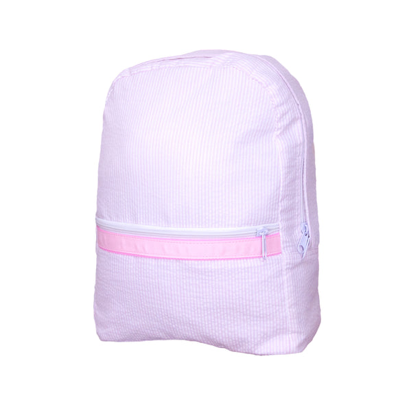 Pink Seersucker Large Backpack - Give Wink