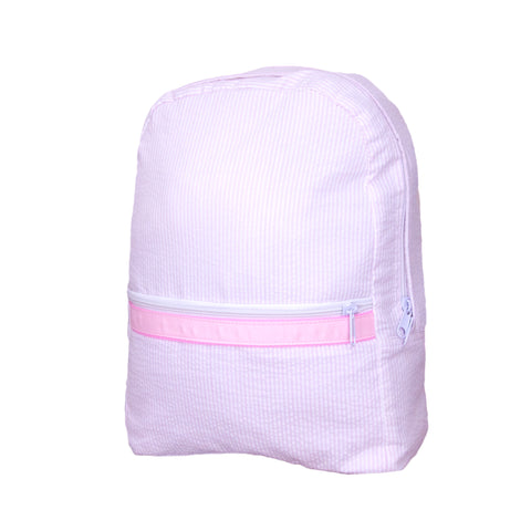 Pink Seersucker Large Backpack