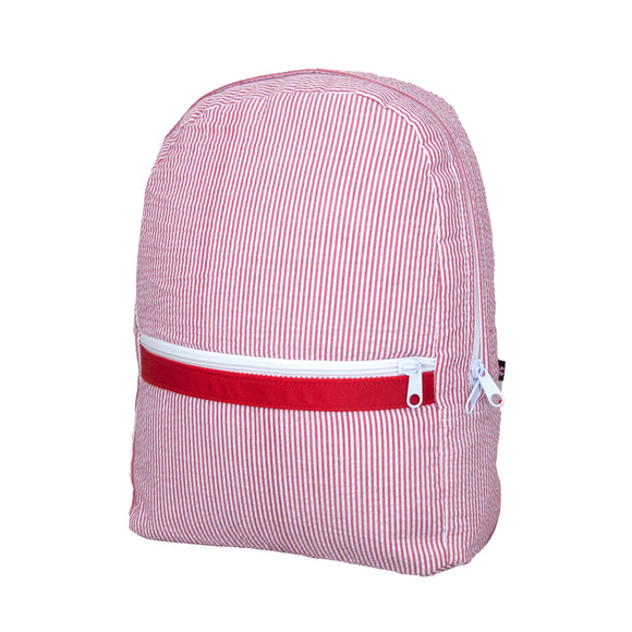 Red Seersucker Small Backpack - Give Wink