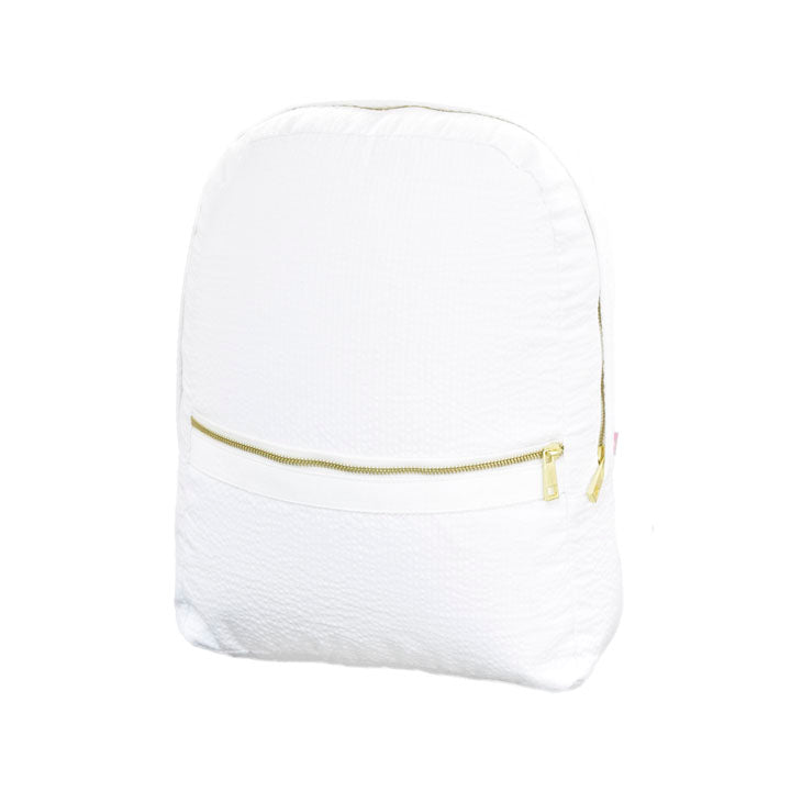White Seersucker Small Backpack - Give Wink