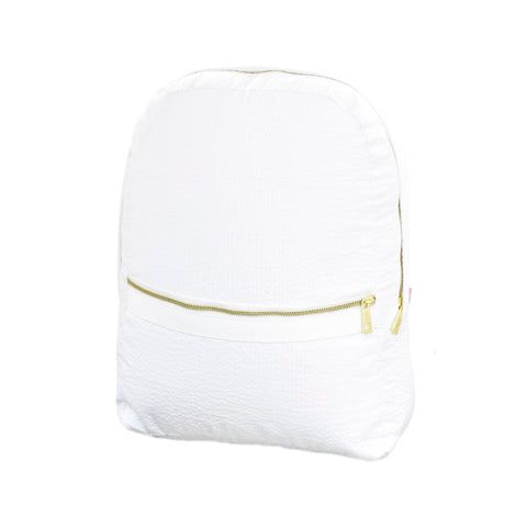 White Seersucker Large Backpack