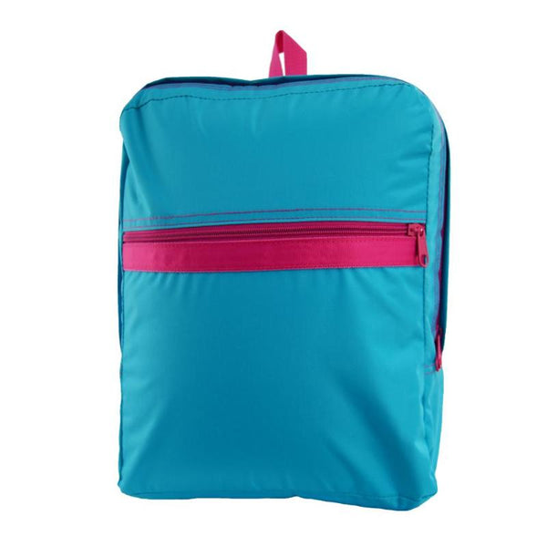 Aqua/Hot Pink Nylon Small Backpack - Give Wink