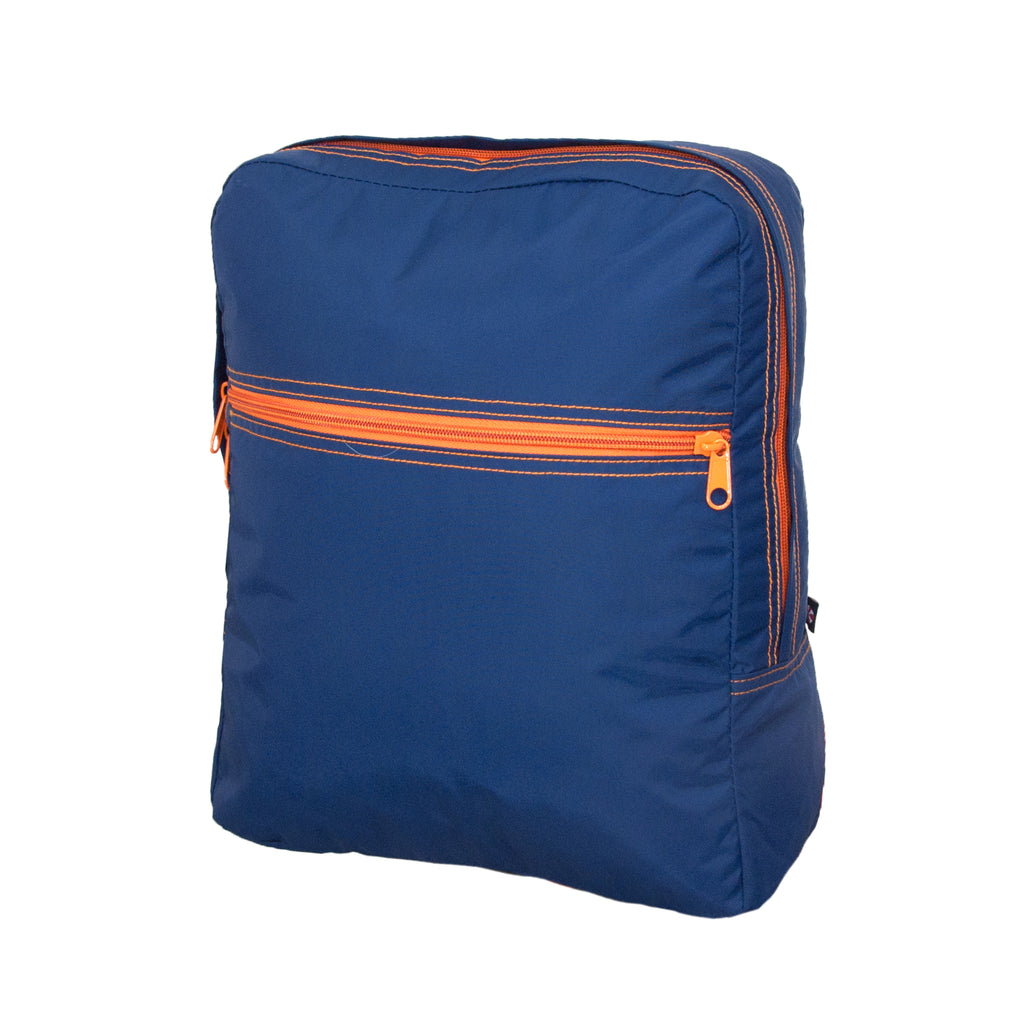 Navy / Orange Nylon Small Backpack - Give Wink