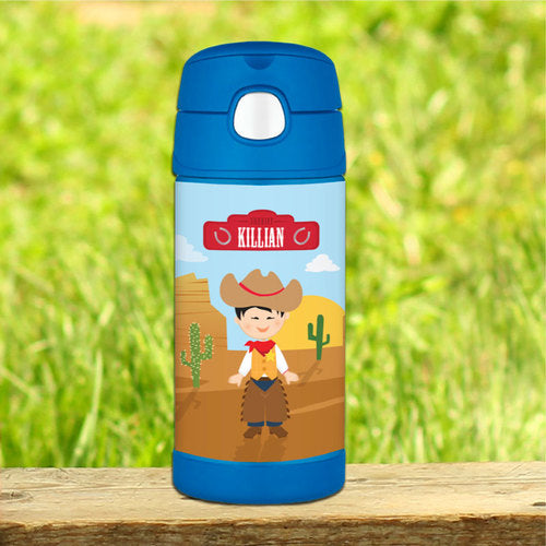 Cowboy Personalized Thermos Bottle - Give Wink
