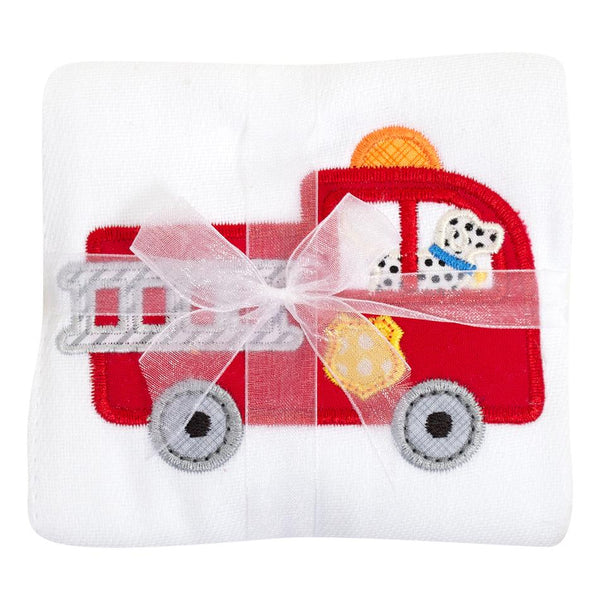 Fire Truck Applique Burp - Give Wink