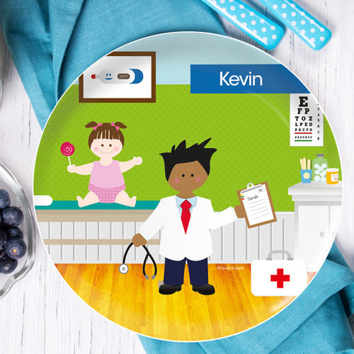Doctor's Visit Boy Personalized Kids Plates - Give Wink