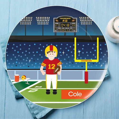 Spark and Spark. Touchdown Personalized Kids Plates. Miami Baby Store. Brunette