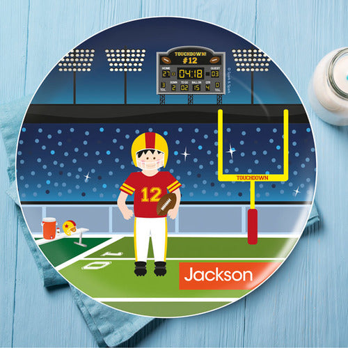 Spark and Spark. Touchdown Personalized Kids Plates. Miami Baby Store. Black Hair