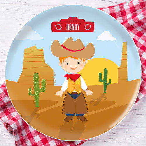 Cowboy Personalized Kids Plates - Give Wink