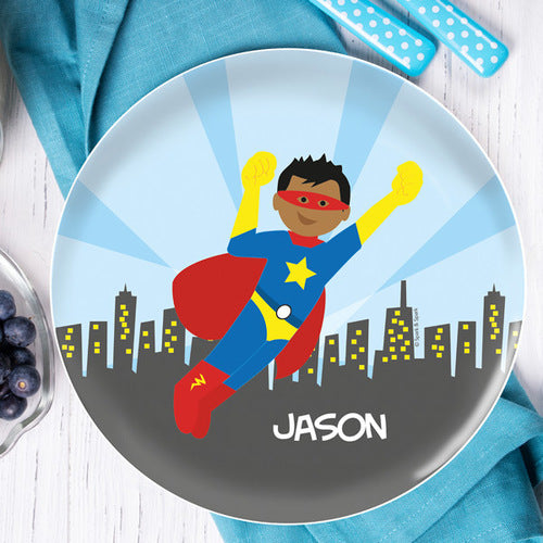 Cool Superhero Personalized Kids Plates - Give Wink