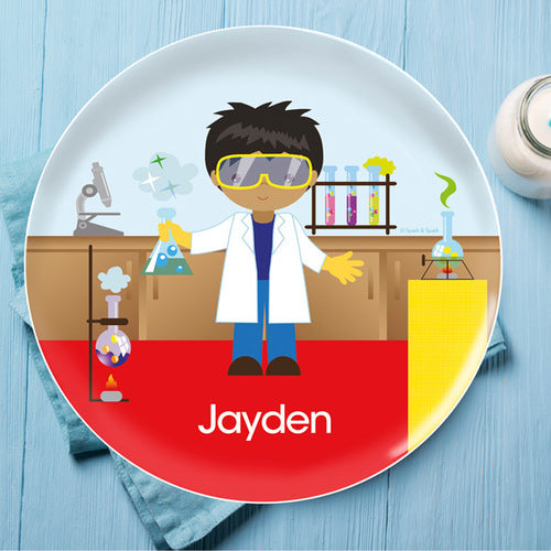Cool Scientist Boy Personalized Kids Plates - Give Wink