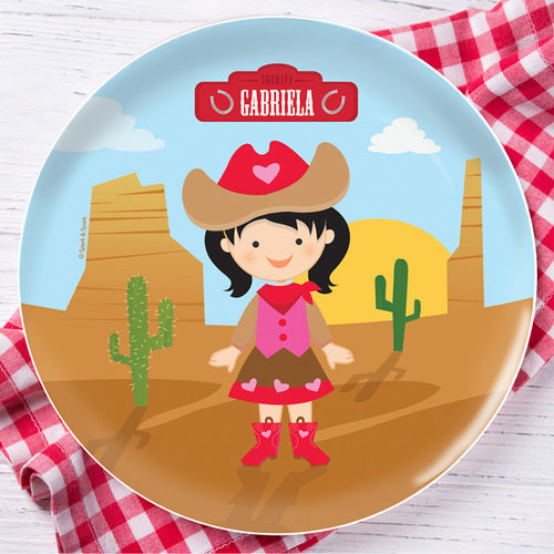 Cowgirl Personalized Kids Plates - Give Wink