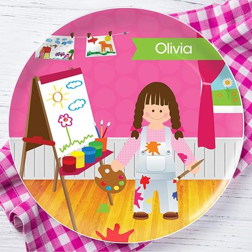 Artist At Work Personalized Kids Plates - Give Wink