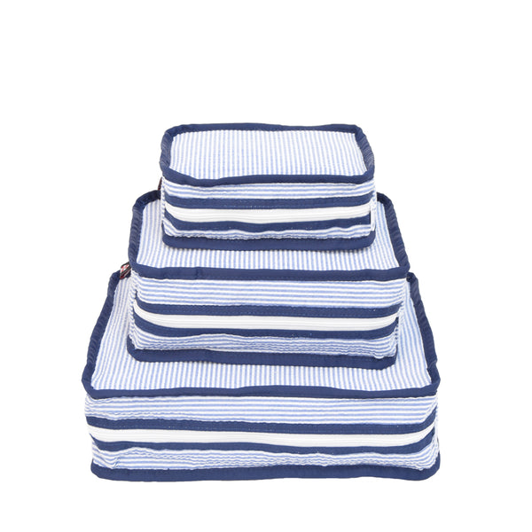 Navy Seersucker Stacking Set/3 - Give Wink
