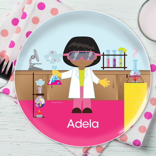 Cool Scientist Girl Personalized Kids Plates - Give Wink