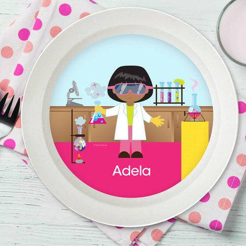 Cool Scientist Girl Personalized Kids Bowl - Give Wink