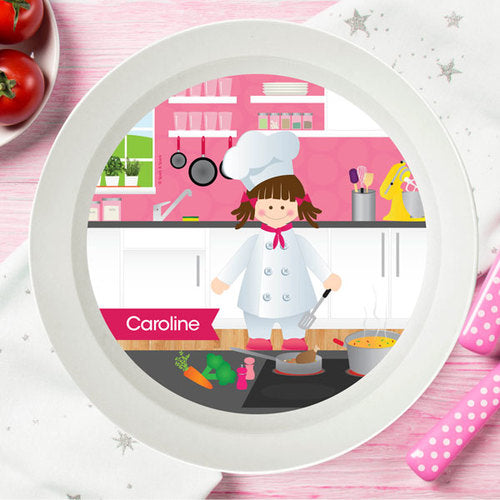 Spark and Spark. The Girl Chef Personalized Kids Bowl. Miami Baby Store. Brunette