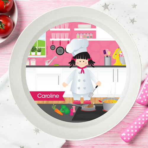 Spark and Spark. The Girl Chef Personalized Kids Bowl. Miami Baby Store. Black Hair