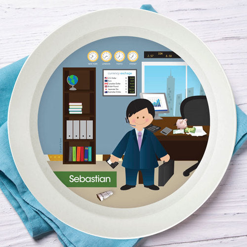 Boy Crunching Numbers Personalized Kids Bowl - Give Wink