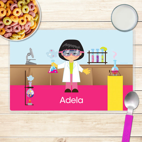 Cool Scientist Girl Personalized Kids Placemat - Give Wink