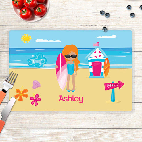 Beach Girl Personalized Kids Placemat - Give Wink