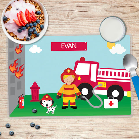 Call a Firefighter Personalized Kids Placemat