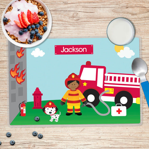 Call a Firefighter Personalized Kids Placemat - Give Wink