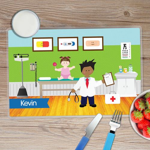 Doctor's Visit Boy Personalized Kids Placemat - Give Wink