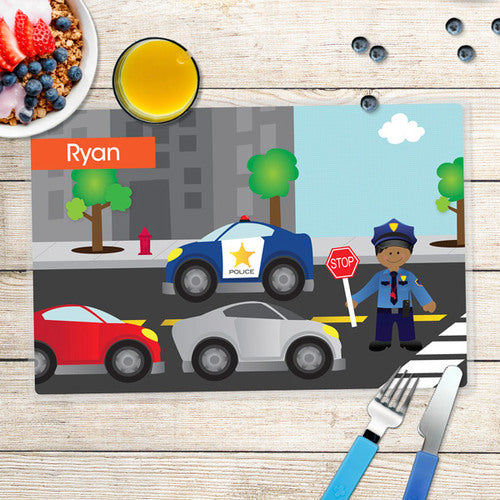Police on Duty Personalized Kids Placemat - Give Wink