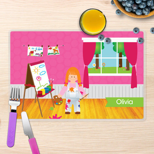 Artist at Work Personalized Kids Placemat - Give Wink