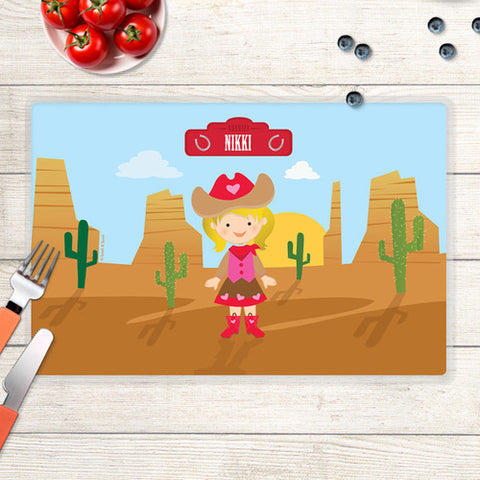 Cowgirl Personalized Kids Placemat
