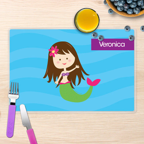 Cute Mermaid Personalized Kids Placemat - Give Wink