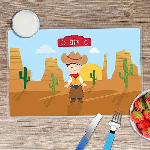 Cowboy Personalized Kids Placemat - Give Wink