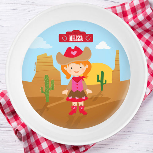 Cowgirl Personalized Kids Bowl - Give Wink