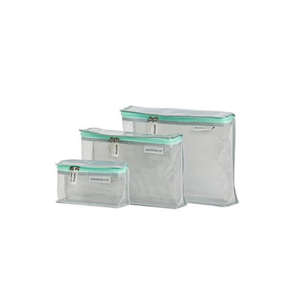 Toiletry Cubes S/3 Piccolo. Light Mint. Give Wink Miami Baby Store
